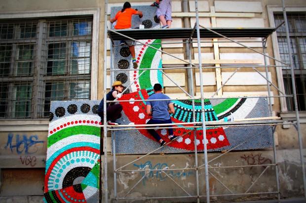 street-art installation plastic bott caps timisoara