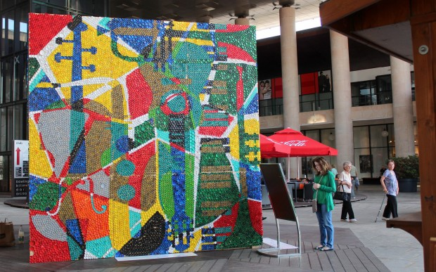 street-art installation plastic bott caps mall